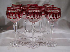 """Set of 8 WATERFORD RUBY CUT TO CLEAR CLARENDON WINE HOCKS - STEMS - GOBLETS - 8"""""""
