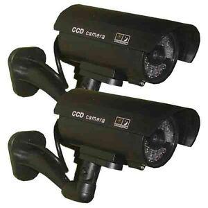 2x Dummy Security Camera Fake LEDs Flashing Light Home Surveillance Waterproof