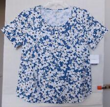 Croft & Barrow Size 2X Blue Floral knit top, scoop henley neck,short sleeve NWT