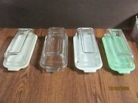 ANCHOR HOCKING FIRE KING JADITE, WHITE, IVORY AND CLEAR BUTTER DISHES