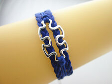 Puzzle Autism Awareness Charms European Leather Braided Bracelet-Royal Blue