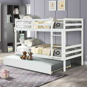 Twin Over Twin Bunk Bed With Trundle Wooden Twin Bed Frame