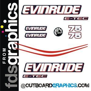 Evinrude 75hp ETEC / E-TEC outboard engine decals/sticker kit