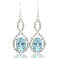 Blue Topaz Gemstone Infinity Designer 925 Silver Dangle Earrings Jewelry