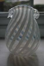 Vintage Nailsea Style White Swirl Glass Vase     #1001