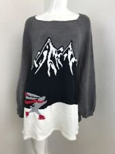 Style & Co Skating Bunny Sweater Grey XL Long Sleeve Knit Ski Mountains $54
