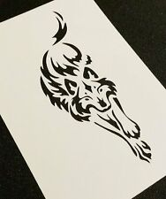 #1S TRIBAL WOLF Airbrushing Stencil Card Craft Paint Decoration Mylar Reusable