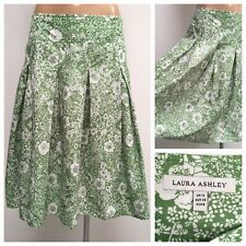 LAURA ASHLEY Skirt Size 12 UK Green Floral Patter A-line Pleated Skirt