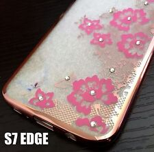 For Samsung Galaxy S7 Edge - TPU RUBBER CASE COVER ROSE GOLD PINK FLOWERS BLING