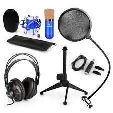Auna USB Microphone Set & Headphones Stand POP Screen Studio Record Holder Blue