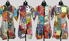 10Pc Wholesale Lot Quilted Jacket Patchwork Cotton Reversible Winter Long Coat