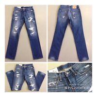 Hollister California Straight Fetzen Jeans Boys Girls Blau Used Denim W28 L30 1A