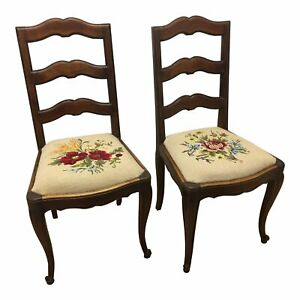 Pair of French Walnut Ladder Back Chairs with Rose Embroidered seats