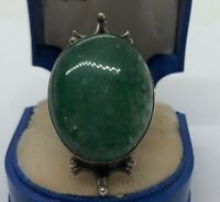 Vintage Sterling Silver Ring 925 Size 6 Green Stone Faux Jade Glass? Estate