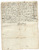 1712 Louis XIV marquis manuscript letter officialstamp and signature AUTHENTIC