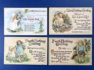 4 BABY Birthday Antique Postcards, 1900s. Ages 1, 3, 4. Artist Signed: Burd