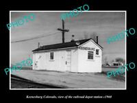 OLD LARGE HISTORIC PHOTO OF KEENESBURG COLORADO THE RAILROAD DEPOT STATION c1960