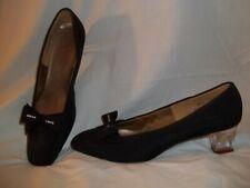 Vintage 1960's Fashionation Black Rhinestone Bow & Lucite Heel Pumps 6.5 N