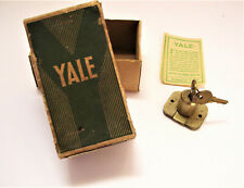 Vintage  Brass Yale Door Lock with Keys Never Used - with Yale Box