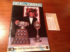 PITTSBURGH PENGUINS ICE TIME MAGAZINE NHL NOV 16 1996 WITH TICKET VS RANGERS