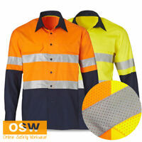 HI VIS COTTON RIPSTOP MESH VENT PERFORATED TAPE LONG SLEEVE SAFETY WORK SHIRT