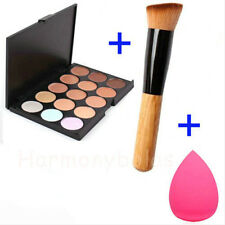 15 Colors Makeup Foundation Contour Concealer Palette+Blush Brush+Sponge Puff