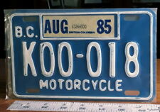 MOTORCYCLE LICENSE PLATE - BRITISH COLUMBIA - 1985 white on blue great number