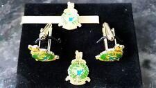 Royal Marine Badge Cufflink / Tie slide/ lapel pin set, Globe, Laurel leaves CDO