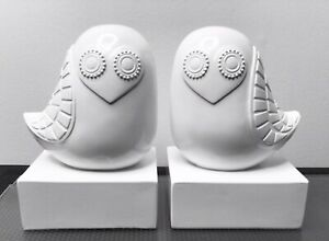 JONATHAN ADLER: 2013 Happy Chic Lola Owl Bookends White, Brand New Pair In Box