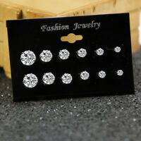 6pairs Sterling Silver Diamond Stud Earrings Round Created Clear Stone Fashion