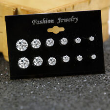 6Pairs STERLING SILVER DIAMOND STUD EARRINGS ROUND CREATED CLEAR STONE