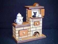 madera horno Casa ahumeante Figura Fumador Estufa de azulejos Gato 40606