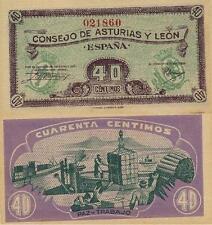 40 Céntimos. Consejo de Asturias y León. Sin serie. Nº 021860. Tamaño 92x45 mm.