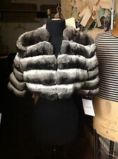 EMPRESS CHINCHILLA SHORT JACKET BOLERO Shrug with 1/2 sleeves COAT NEW SAKS