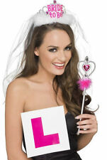 Ladies Womens Girl Hen Party Bride to be Party Set Tiara Veil L Plate Badge Wand