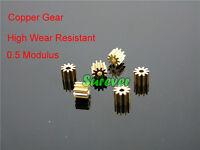Metal Copper 10 teeth Gear 0.5 Modulus Wear Resistant 2mm RC Car Motor Parts