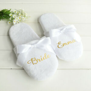 Personalised Wedding Slippers Bridesmaid Gift Party Slippers Bride Bow Shoes