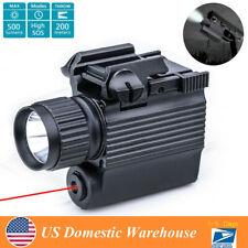 500 Lumens Hunting Adjust Red Laser Pistol Hand Gun Light Sight Combo Flashlight