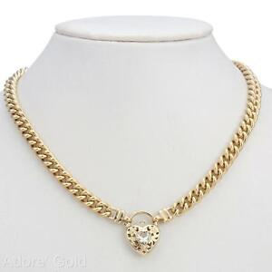 18K Yellow Gold GL Women's Solid Med Euro Curb Necklace & Crystal Filigree Heart