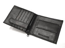 Mens RFID BLOCKING Real Leather Wallet Zip Coin Pocket ID 15x Credit Card Holder