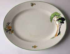 Art Deco Wedgwood & Co Serving Plate Trees & Floral Design Unicorn Mark Large
