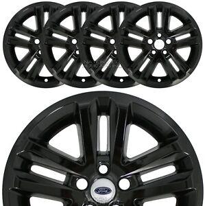 """4 BLACK 2011-2017 Ford EXPLORER 18"""" Alloy Wheel Skins Full Rim Covers Hub Caps"""
