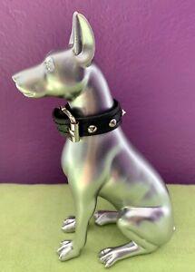 """Metallic Silver Electroplated Doberman Pinscher Dog Sculpture Resin 7"""" Statue"""