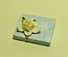 Dollhouse Miniature Handcrafted Christmas Holiday Gift Package Blue & White 1:12