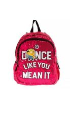 NWT Despicable Me 3 Minions Pink Sequin Backpack Bookbag Dance Like You Mean It