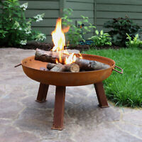 """Sunnydaze 24"""" Fire Pit Cast Iron with Rustic Finish Wood-Burning Fire Bowl"""