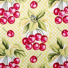 BonEful Fabric FQ Cotton Quilt VTG White Green Red CHERRY Retro Kitchen Leaf Dot