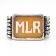 Vintage Sterling Silver MLR Initials Cameo Carved Shell Ring Size 10