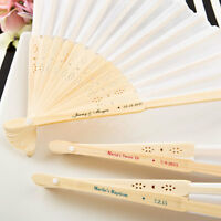 60 Personalized White SILK Fans Outdoor Bridal Shower Tea Party Wedding Favors