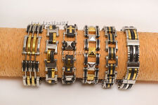 Lots 6pcs Gold and Silver Men's Stainless Steel Rubber Link Chain Bracelet New